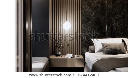 Bedroom interior with close up of wooden bed with headboard and decorative pillows. Stock photo © iriana88w
