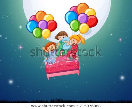 üç kızlar yatak uçan balonlar örnek Stok fotoğraf © colematt
