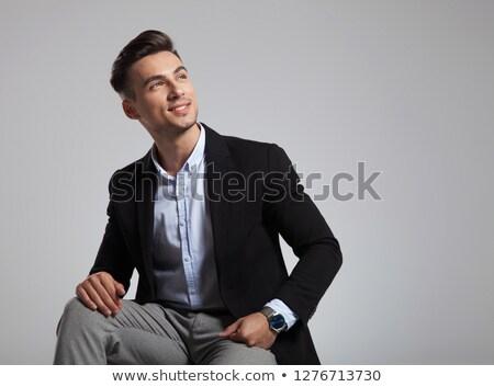 Heureux assis affaires costume noir up Photo stock © feedough