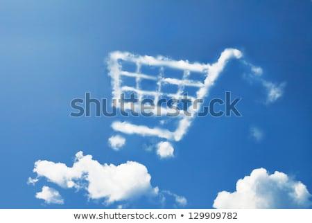Winkelwagen wolk symbool vorm blauwe hemel Stockfoto © make