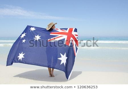 Female on beach with Australian flag Australia Pride Stock photo © lovleah