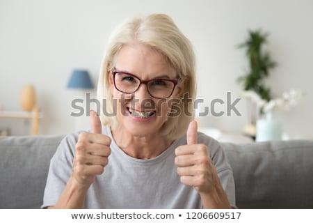 Portre mutlu kıdemli kadın gözlük ev Stok fotoğraf © dolgachov