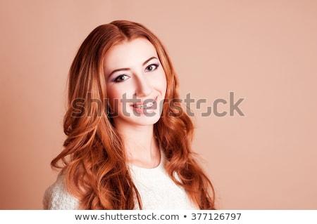 Retrato feliz mujer dentales tirantes sonriendo Foto stock © deandrobot