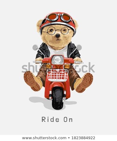 medve · lovaglás · moped · illusztráció · boldog · jókedv - stock fotó © colematt