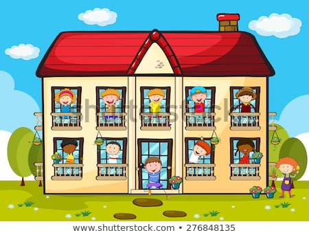 Apartment building with many kids Stock photo © colematt