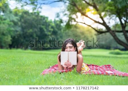 Foto stock: Sorridente · jovem · asiático · menina · ao · ar · livre · parque