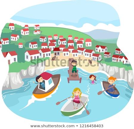 Kinderen dorp leven illustratie paardrijden Stockfoto © lenm