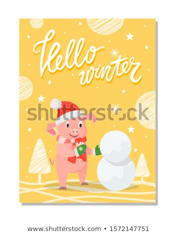 Photo stock: Hello Winter Poster Pig Red Hat and Knitted Scarf