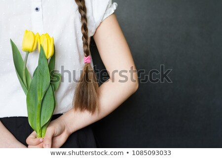 heart banner spring flowers and students in love stock photo © robuart