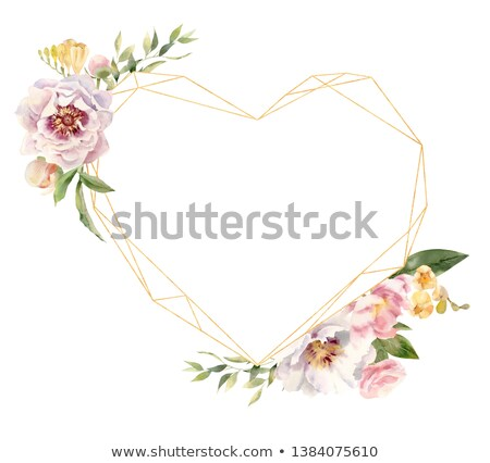 Stock photo: Watercolor illustration freesia heart shaped wreath. Vintage watercolor colorful illustration on whi