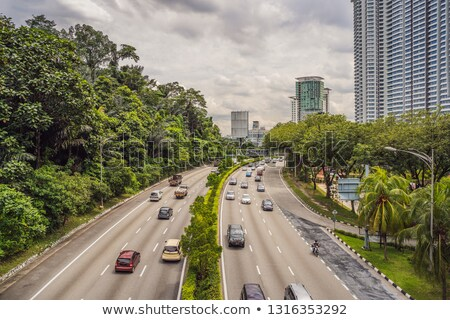 Highway with cars surrounded by greenery and skyscrapers Stock photo © galitskaya