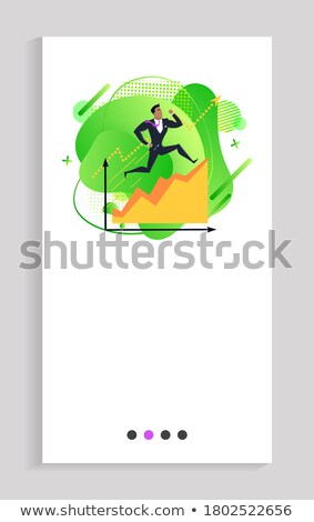 Overcoming Obstacles, Businessman Running Up Chart Stock photo © robuart