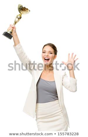 giovani · donna · d'affari · vincente · trofeo · ritratto · eccitato - foto d'archivio © szefei