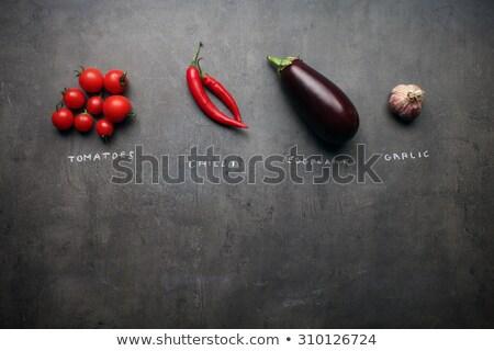 Taze sarımsak gri maydanoz gıda arka plan Stok fotoğraf © furmanphoto