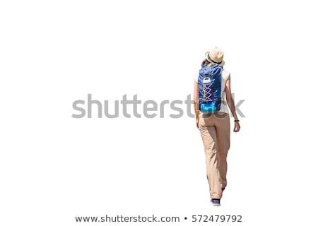 jovem · viajante · mochila · isolado · branco · homem - foto stock © elnur
