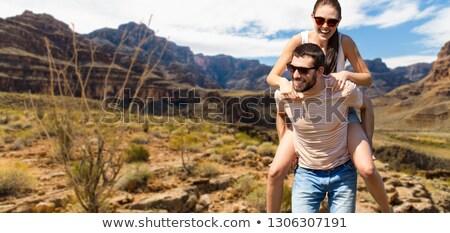 Pár szórakozás nyár Grand Canyon utazás turizmus Stock fotó © dolgachov