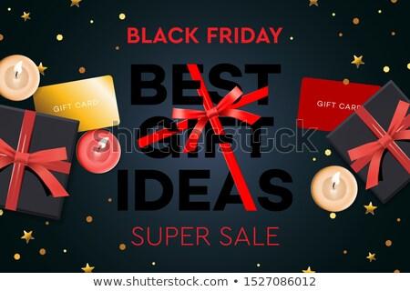 christmas sale best gift ideas black gift box on dark background design 2020 vector illustration stock photo © ikopylov