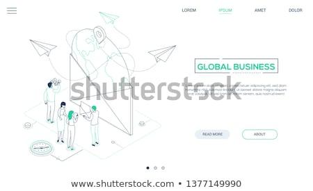 Global Business line Design Stil Web Stock foto © Decorwithme