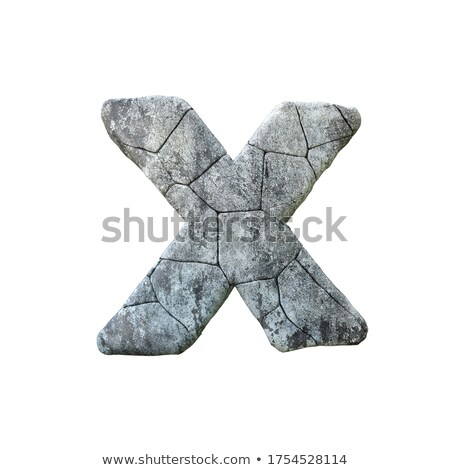Concrete fracture font Letter X 3D Stock photo © djmilic