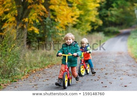little boy having fun on bikes in autumn forest selective focus on boy stock photo © galitskaya