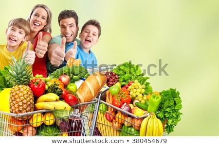 couple · panier · supermarché · heureux - photo stock © kzenon