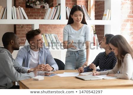 ストックフォト: 教師 · 学生 · グループ · チーム · 子供