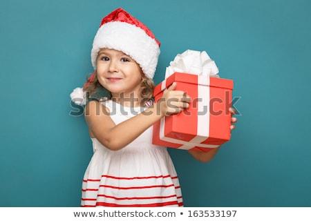 Foto stock: Família · um · criança · natal · beijando