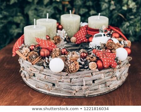 Advent koszorú karácsony idő fából készült fa Stock fotó © grafvision