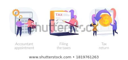Könyvelő találkozó vektor metaforák pénzügyi iratok Stock fotó © RAStudio
