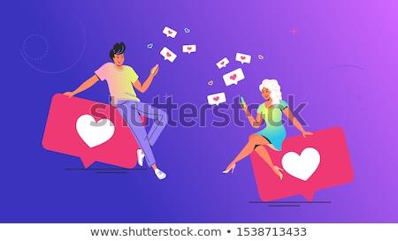 Emberek telefon randizás app beszélget vektor Stock fotó © robuart