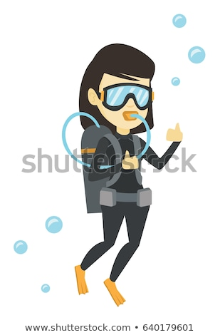 Meisje snorkel geïsoleerd illustratie glimlach gelukkig Stockfoto © bluering