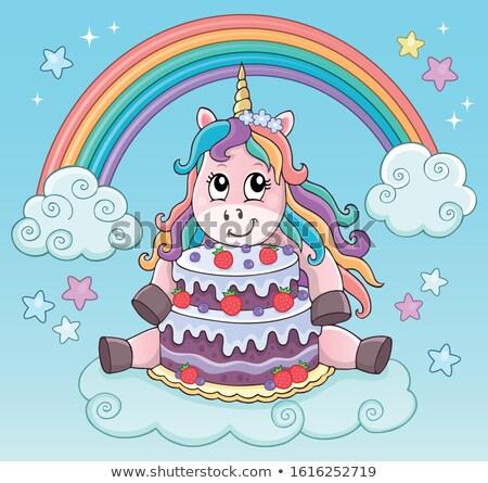 Unicorn with cake theme image 3 Stock photo © clairev
