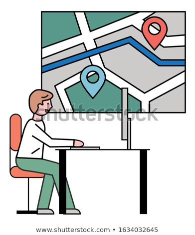Man Working at Travel Agency, City Street Map Stock photo © robuart