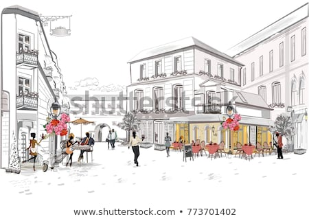 Served Table and Couple of Chairs Outdoor Vector Stock photo © robuart