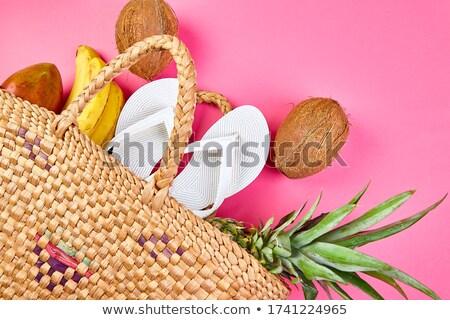 Nyár fehér papucs fonott bambusz táska Stock fotó © Illia