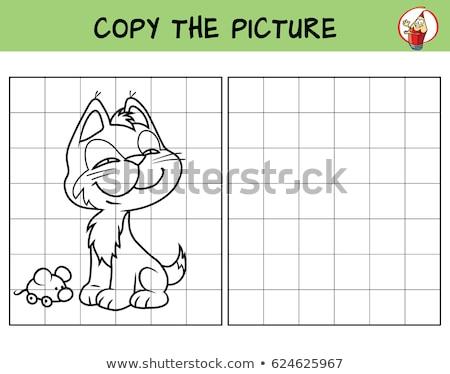 Grappig weinig kitten kleurboek onderwijs spel Stockfoto © natali_brill