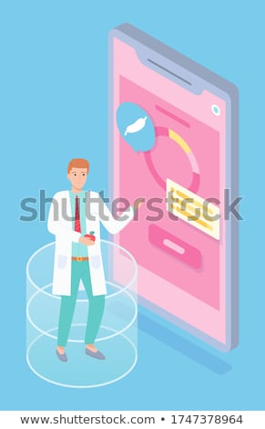 Consultation with a gastroenterologist online. Nutritionist recommendation on smartphone. Flat image Stock photo © robuart