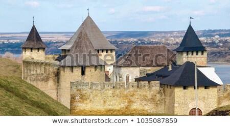 view of khotyn fortress chernivtsi oblast ukraine stock photo © wildman