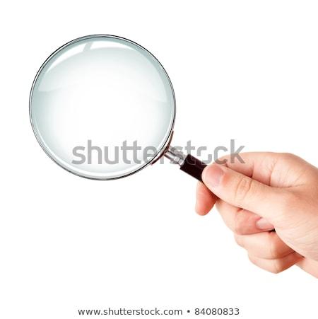 Foto stock: Lupa · educação · palavra · branco · escolas · óculos