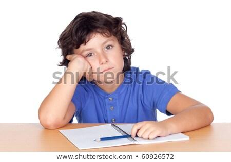 Foto stock: Adorable · nino · cansado · estudio · blanco · libro
