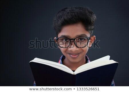 pusty · notatnika · okulary · do · czytania · biurko · działalności · biuro - zdjęcia stock © archipoch