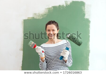 mujer · pintura · pared · rojo · diseno · pintura - foto stock © photography33
