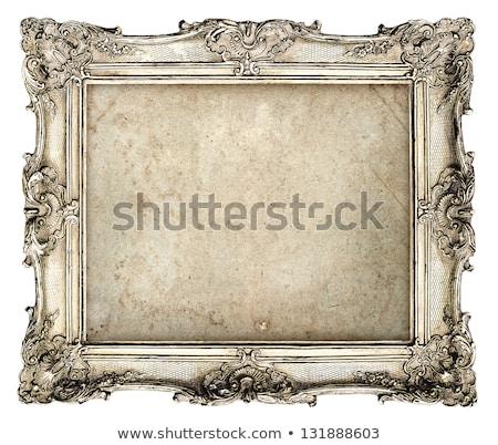 Argento vecchio frame isolato bianco texture Foto d'archivio © ongap