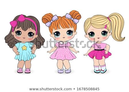 poupées · ours · en · peluche · table · mur · rouge - photo stock © sveter