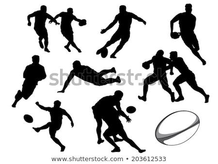 voetbal · spelers · silhouetten · ingesteld · voetbal · bal - stockfoto © kaludov