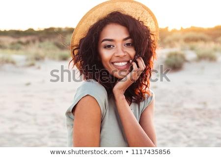 gülen · şık · kadın · şapka · hayvan - stok fotoğraf © stryjek