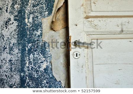 wooden door wallpaper shreds peeling wall Stock photo © sirylok