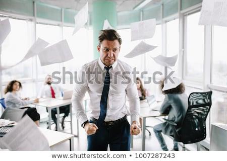 Zły biznesmen odizolowany biały człowiek mężczyzn Zdjęcia stock © Kurhan