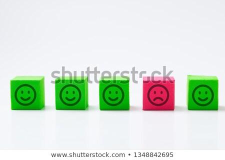 boldog · szomorú · arc · nők · tart · papírok - stock fotó © iqoncept