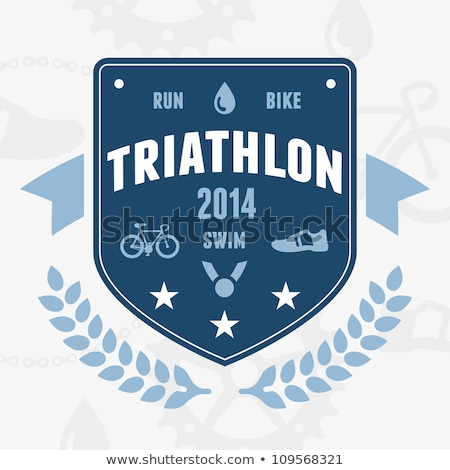 Triathlon badge emblema design moderno bike Foto d'archivio © mikemcd